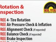 Get FREE tire rotation and inspection at Mr. Tire