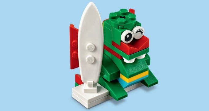 FREE LEGO Surfer Dragon Mini Model Build at Lego Stores
